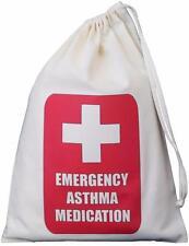 Emergency Asthma Medication design -SMALL cotton drawstring bag - SUPPLIED EMPTY