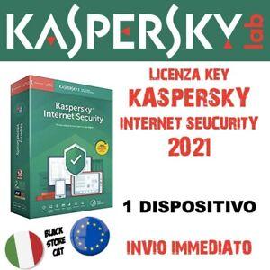 KASPERSKY INTERNET SECURITY 2021 🇮🇹 🇪🇺 1 Dispositivo Nuovo o Aggiornamento