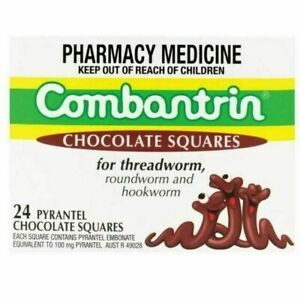 COMBANTRIN Chocolate Squares Pinworm Treatment for Children & Adults - 24 count