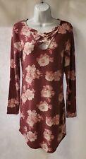 Junior Women's Burgandy Floral Fleece Long Sleeve Dress  Sz.Lg 11-13   *A39