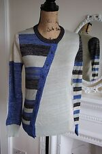 BNWT John Galliano Blue Black Gold Cardigan S 8 10 Geometric Knit Asymmetric XS