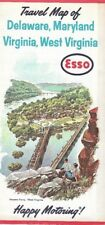 1963 ESSO HUMBLE OIL Road Map DELAWARE MARYLAND WEST VIRGINIA Harpers Ferry