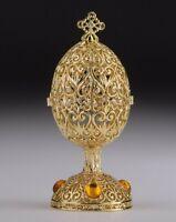 Faberge gold Egg trinket box hand made by Keren Kopal & Austrian crystals