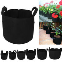 Black Fabric Pots Plant Pouch Round Aeration Pot Container Vegetable Grow Bags H