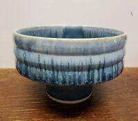 Japanese Studio Pottery Pedestal Compote Marked blue glaze