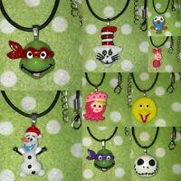 Girls Boys Kids Inspired Pendant Necklace TMNT, 1D Elmo, Barbie Olaf, Hootabelle
