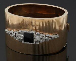 Art Deco heavy 14K YG 1.50CT VS1/F diamond & onyx 37.6mm wide bangle bracelet