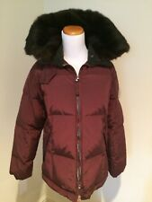 Post Card Ladies Down Jacket Size 6 Burgundy, Fur Collar, from Bergdorf Goodman