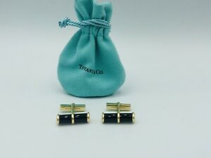 Vintage Tiffany & Co. 14K Solid Yellow Gold & Onyx Cuff links RARE