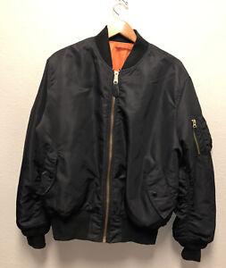 black orange reversible ALPHA INDUSTRIES MA-1 bomber flyers flight jacket XL