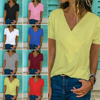 US Plus Size Women Short Sleeve Tops Casual Pleated Solid Summer T Shirt Blouse