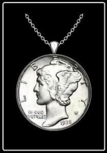 "MERCURY DIME Necklace - silver authentic us vintage coin pendant jewelry 24"""