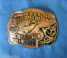 Belt Buckle Custom Copper Silver Mortenson Rodeo Trophy Awards West of the Pecos