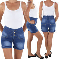 Damen Hochschnitt Hotpants Hot Pants Jeans Shorts Kurze Capri Hose Blau
