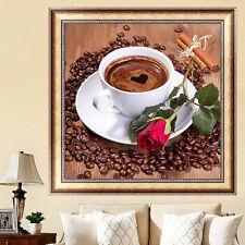 DIY Coffee Cup Rose 5D Diamond Embroidery Needlework Painting Cross Stitch Craft