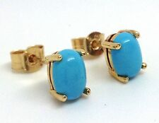 9ct Gold Turquoise Gemstone Oval Stud Earrings, New, Actual Ones. UK Made.