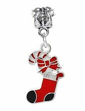 Christmas Candy Cane Stocking Red Black Dangle Charm for European Bead Bracelets