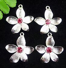 4pcs Beautiful alloy Silver plated  Inlaid diamond carvd flower pendant BA374