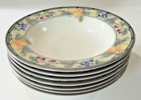 Mikasa Garden Harvest Intaglio Fruit Leaves SEVEN Large Rim Soup Pasta Bowls