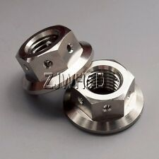 2pcs M10 x 1.25 Titanium Ti Hex Flange Race Drilled Nut for Sprocket Lockwire