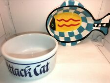 "Cat Food Dish 2 Food Dishes For Cats ""Attack Cat"" & ""Fish Dish"" Food & Water"