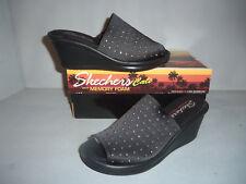 Women's Skechers Black Wedge Sandals Zoom Rumblers Silky Smooth SIZES! Glitter!