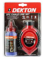 Dekton 2pc Builders Chalk Powder And 30m 100ft Line String Reel Marking Set Kit