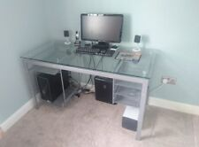 Modern and elegant Computer Desk Table for Home OfficeGrey with Glass Top