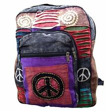 HIPPIE BACKPACK BOHO BAG HIPPY PEACE SYMBOL 60'S BEACH HANDBAG FESTIVAL RUCKSACK