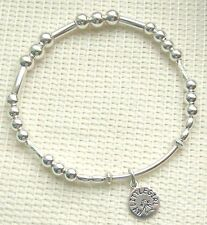 MY LITLE GIRL CHARM  S/ SILVER STACKING NOODLE BRACELET STRETCH FREE GIFT BOX