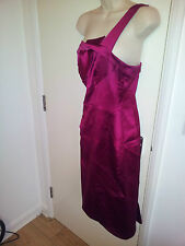 KAREN MILLEN LADIES ONE SHOULDER BODYCON PINK PARTY DRESS (SIZE UK 12)