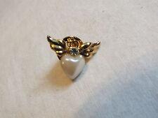 Beautiful Brooch Pin Gold Tone Signed AVON Wings Faux Pearl Heart Rhinestone WOW