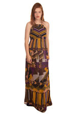 RRP €235 BA&SH Boho Maxi Empire Line Dress Size 3 Quilted Open Back Color Block