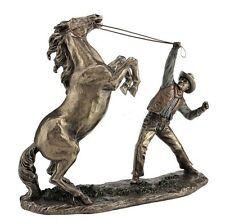 """15"""" Cowboy Taming Horse Statue Western Figurine Country Figure American"""