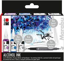 Marabu Alkohol Tinte Ink Set UNDERWATER für Fließtechniken permanente Tinte neu