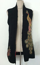 Women black sweater vest hand stitched seqin flower peacock gold stone sz All