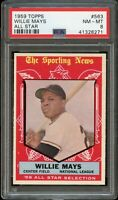 1959 Topps BB Card #563 Willie Mays Giants ALL-STAR 1959 PSA NM-MT 8 !!!