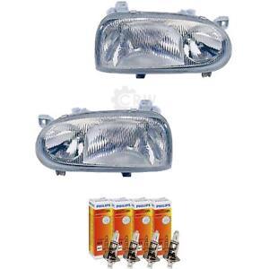 Scheinwerfer Set für VW Golf III 3 1H Bj. 91-97 H1+H1 inkl. PHILIPS Lampen