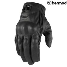 Icon Pursuit CE Short Leather Motorbike Motorcycle Gloves - Black