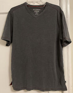 Tommy Bahama Island Zone Logo V Neck S/S Tencel Lyocell/Poly T Shirt Men's Sz M!