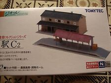 TomyTec-214731 Goods shed with plataform 2 N Scale