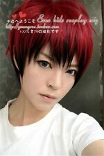 Japanese Men's Mens Boy Red Black Mix Short Straight Hair Wigs Cosplay Anime Wig