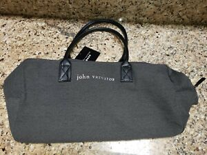 NEW NWT John Varvatos Mens Medium Gray Weekender Duffel Carry On Gym Bag