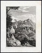 Antique Master Print-ITALIANATE LANDSCAPE-Giuntotardi-Poussin-ca. 1820