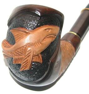 * SHARK * Wooden HAND CARVED Handmade Smoking Pipe Pipes For 9 mm filter