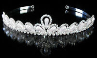 TIARA BRIDESMAID PROM WEDDING PEARL PAGEANT RECEPTION WEDDING CROWN TIARA #19