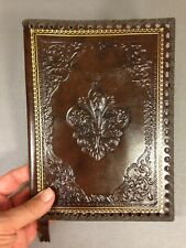 Antique Style Embossed fleur de lis gilt Leather Book Folio Cover