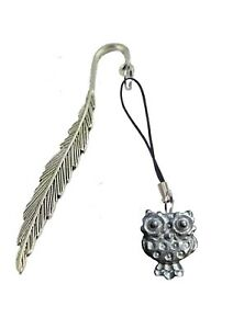 Wide Eyed Owl FT232 1.9x2.5cm Fine English Pewter On A FEATHER Bookmark