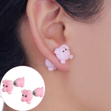 New Handmade Polymer Clay Cute Pink Pig Earrings Women Animal Ear Stud Jewelry