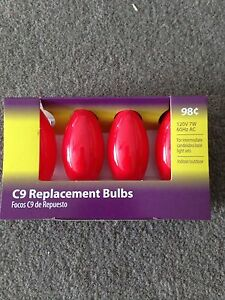 C - 9 Glow Ceramic RED  Replacement Bulbs 7W C 9 Light bulb 4 bulbs in package